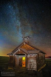 """Erased,"" Starlit Night Over Douglas Hollow Schoolhouse, Oregon"