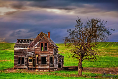 """What Once Was,"" Stormy sunbreak over the Charles E Nelson House, Fairfield Homestead, Wasco County, Oregon"