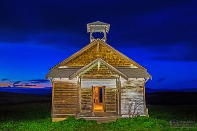 """Peering into the Past,"" Nautical Sunset over Douglas Hollow Schoolhouse, Wasco County, Oregon"