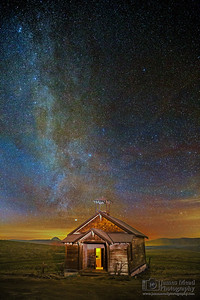"""Bygone Memories,"" The Winter Milky Way over Douglas Hollow Schoolhouse, Oregon"
