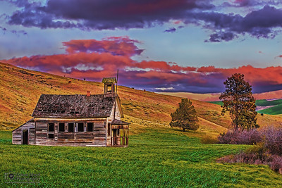 """School Days Past,"" Sunset over 8 Mile Schoolhouse,  Wasco County, Oregon"