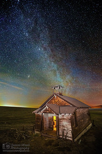 """Andromeda's Schoolhouse,"" Andromeda and the Milky Way over Douglas Hollow Schoolhouse, Oregon"