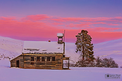 """Snow Day,"" Winter Sunset over 8 Mile Schoolhouse,  Wasco County, Oregon"