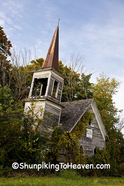 Abandoned Bethel Chapel (1880) with Leaning Steeple, Richland County, Wisconsin