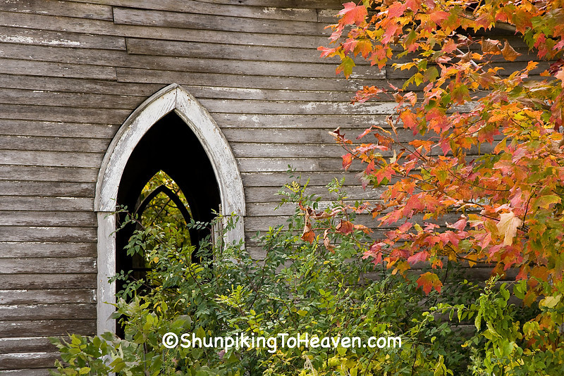 Windows of Abandoned Church in Autumn, Richland County, Wisconsin