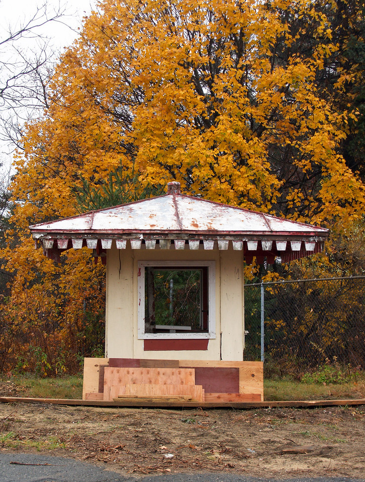 Ticket Booth<br /> Amazing it's still standing.  Glad the tree held onto its leaves.