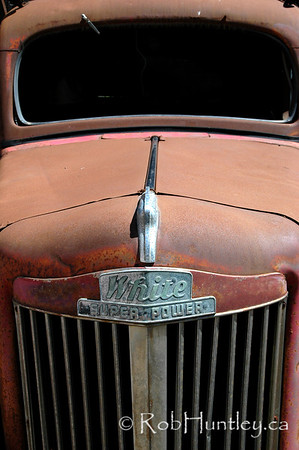 Detail of a vintage car abandoned by the roadside