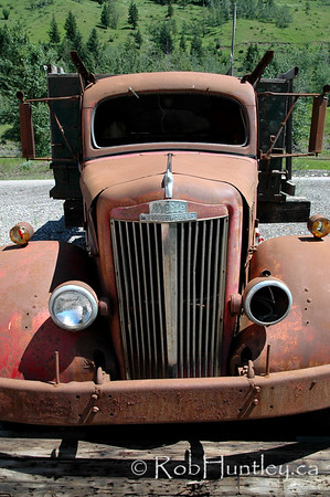 Vintage car abandoned by the roadside in southern British Columbia.