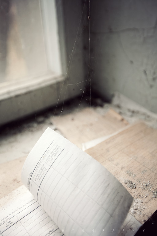Logbook in the Pripyat hospital. It looks as though the spiderweb was holding it open to that page. Perhaps it was.