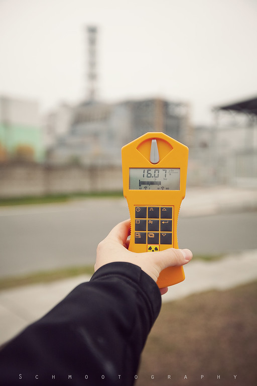 Here's the obligatory geiger counter shot in front of Reactor 4. There isn't actually much to see here, and due to the surrounding buildings being military property, we were requested not to shoot to the left or to the right.