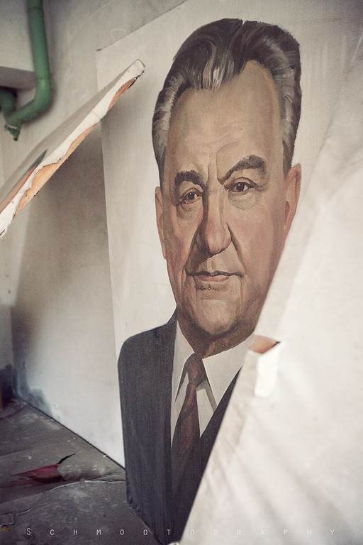Back stage at some sort of playhouse. Plenty of Labor Day posters were ready to go here, with painted portraits of all the great Communist leaders.