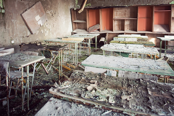 The school was full of fascinating rooms. Where the water drops, the moss grows.