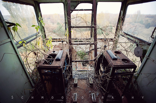 In the control room of the last crane.