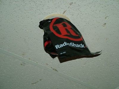 inside radioshack, this bag was on the ceiling