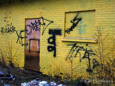 Grungy back entrance of a derelict store and house on Gladstone Avenue in Ottawa, Ontario. © Rob Huntley
