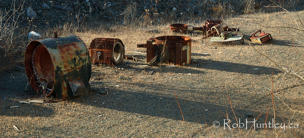Rusting equipment scattered at the Marmora Iron Mine