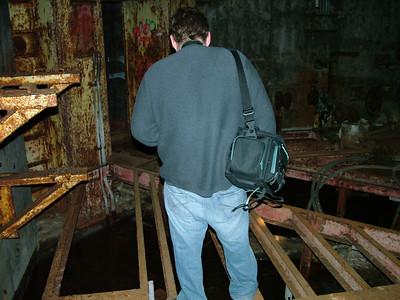 Mike being cool walking across the beams.
