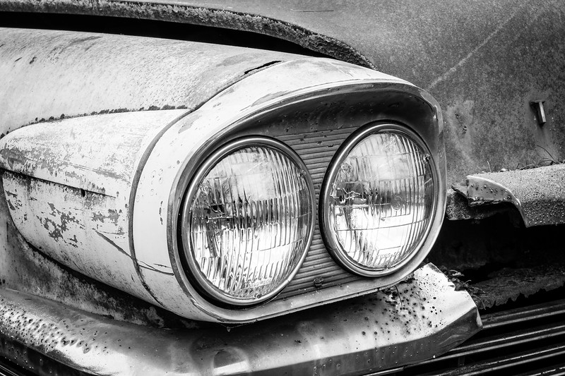 Close up, Studebaker headlights