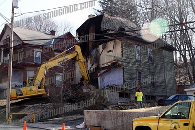 Abandoned house collapse,demolition