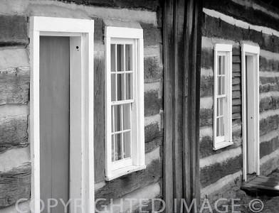 Lincoln Log Cabin Historic Site winter (B & W)