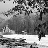 Split rail fence & winter scene at Lincoln's New Salem