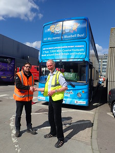 Manager of Tullos Bus Station in Aberdeen, Chris Stott with Brian