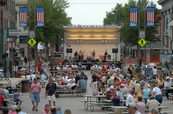 musicians perform on main street