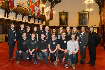 15/02/16 Lord provost gave a tour of the town house to a gfroup of swimmers from Stavanger training in Aberdeen.