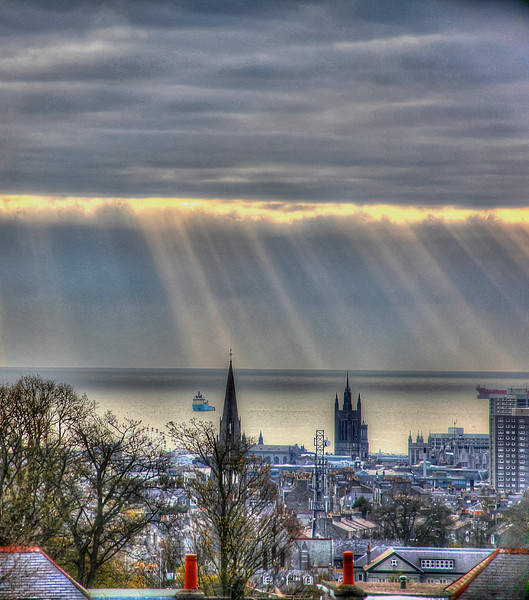 """""""Aberdeen Over the Rooftops and into the Bay"""" (Portrait style)"""