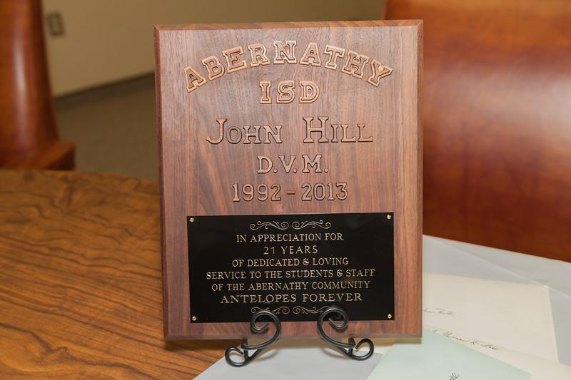Dr. John Hill D.V.M. Retirement, President AISD Board of Trustees, 5-28-2013                        , 5-28-2013