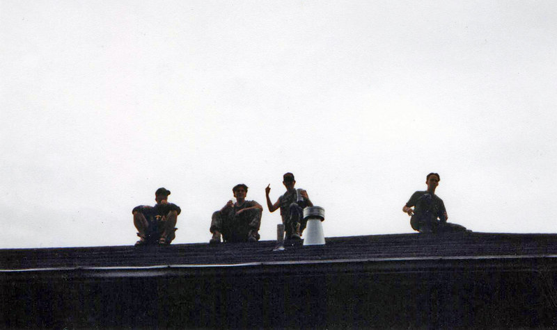 A popular pastime was to hang out on the roof of the frat house; we were on sorority row so we always had a good vantage point for our voyeurism