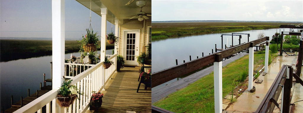 Comparison of Faulstich (my parents') house in Diamondhead, Mississippi - taken from the same point of view before and after Katrina (back)
