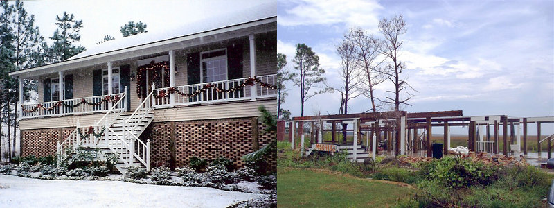 Comparison of Faulstich (my parents') house in Diamondhead, Mississippi - taken from the same point of view before and after Katrina (front)