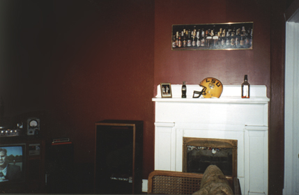 One side of the den had the fireplace.