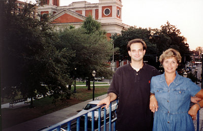 At the edge of the park was a huge cathedral. The street below is Dauphin Street (main street of downtown Mobile.)<br /> That's mom on the right.