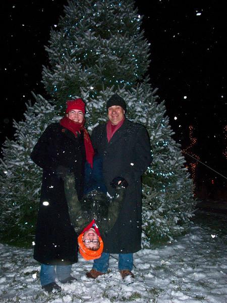Suzanne, Rick & Evan at Christmas Tree
