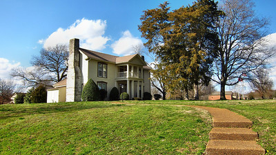 My view as I walk my daily 1.5 mile walk at home in Franklin, TN -- Historic Moran House is the River Condominium's Club House