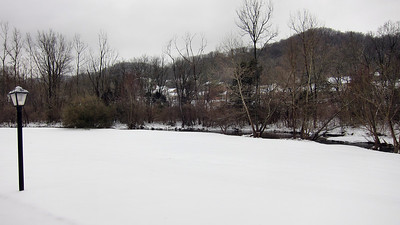 Saturday morning, January 30, after 3 1/2 inches of snow and 1/2 inch of ice on top.