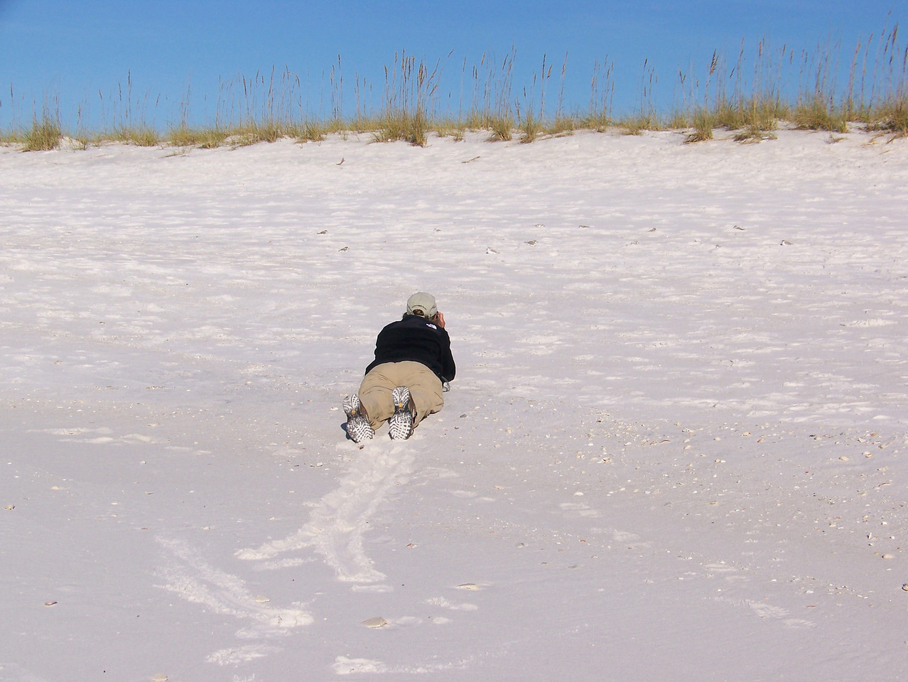 Linda taking pictures of snowy plovers on Navarre Beach