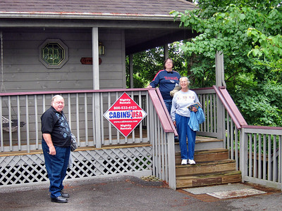 Family Trip in Pigeon Forge, TN- Bobby, Pat, and Shirley in front of our cabin