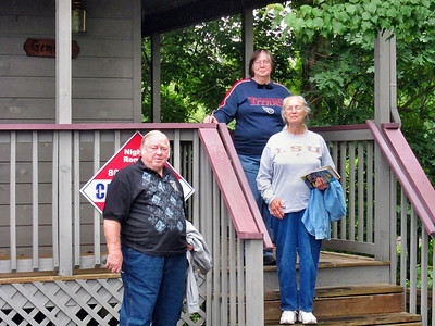 Family Trip in Pigeon Forge, TN - Bobby, Pat, and Shirley in front of our cabin
