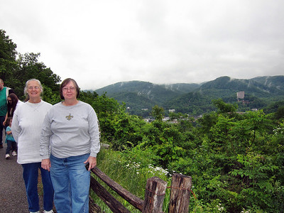 Family Trip in Pigeon Forge, TN - Gatlinburg overlook in Great Smoky Mountains National Park - my sisters Shirley and Pat