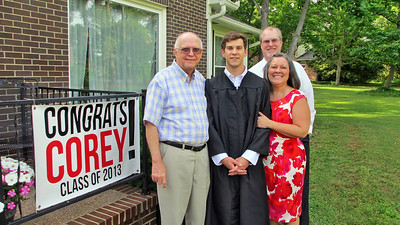 May 2013 - Corey Bradley Graduation Party - Corey with Mom Margo, Dad Russ and Reagan