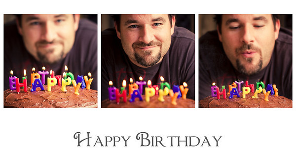 Monday, November 16, 2009  Happy number 37 to my hubby!  I loved these little happy birthday candles, although they certainly didn't last very long at all!  PS - This collage was made in Lightroom 2's Print Module.