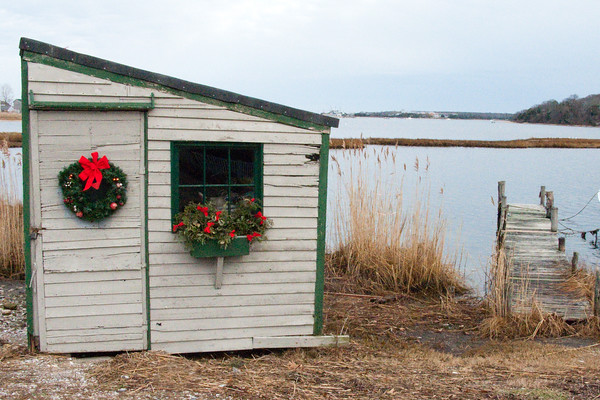 December 28, 2009. Stuart Bangs' fishing shack, Lagoon Pond, Vineyard Haven.