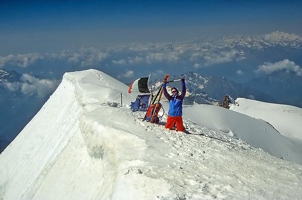 Self portrait on Punta Gniffetti (4.554m), Monte Rosa