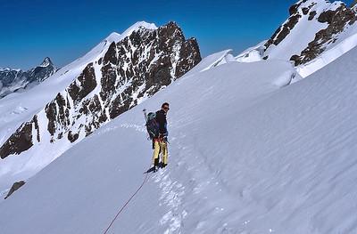 1996,  me climbing Breithorn Zwillinge (4.106m), Italy