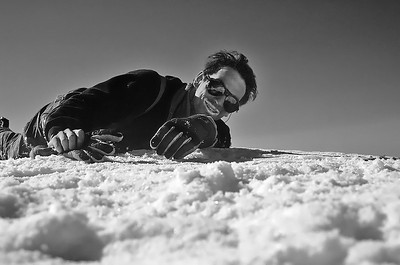 Self portrait on the summit of Ludwigshohe (4.342m), Monte Rosa