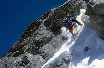 1996,  me, final couloir of Breithorn Zwillinge (4.106m), Italy
