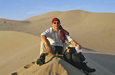 Self portrait, Eastern Taklamakan desert, Dunhuang, China